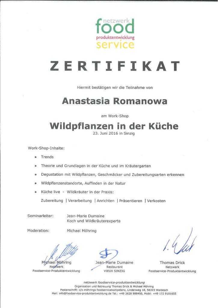 Wildkräuter Zertifikat
